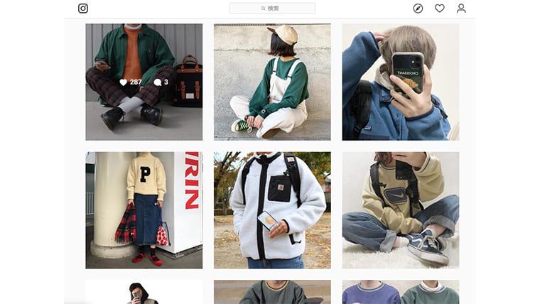 Instagramの古着コーデ検索結果